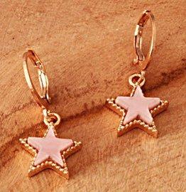 Oorbellen pink star