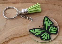 Sleutel/tas hanger vlinder - Groen