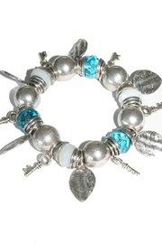 Elastische kralen armband - Blauw/wit/zilver