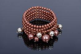 Brede elastische parel armband - Bruin/brons