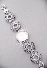 Horloge met strass - grijs/zwart/zilver