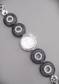 Horloge met strass zwart/zilver