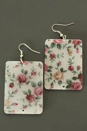 Oorbellen met roze bloemen print (rechthoekig)
