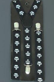 Bretels zwart met witte kroontjes