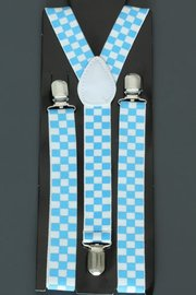 Bretels blauw/wit geblokt