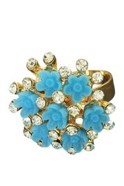 Ring met strass en blauwe bloemen