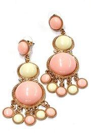 Lange oorbellen roze/wit
