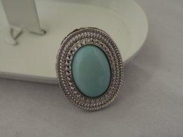 Ring zilver/blauw