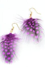 Veren oorbellen stip paars/zwart