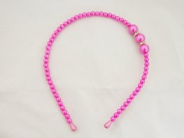 Parel/strass haarband - hard roze