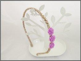 Haarband met strass en bloemen paars