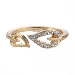 Ring leaf goud