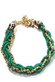Kralen armband met schakels - groen/goud