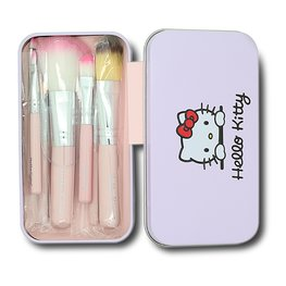 Hello kitty make-up kwasten in blikje roze