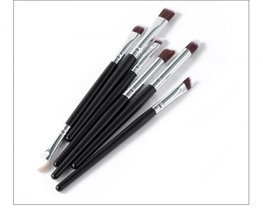 Make-up kwasten set 6 delig zwart/zilver