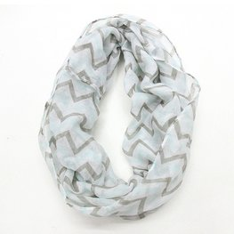 Col shawl chevron grijs/mint/wit