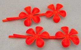 Schuifspeldjes metalen bloem oranje
