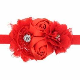 Elastische haarband met 3 bloemen rood