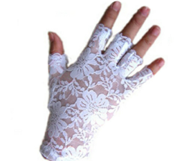 Kanten stretch handschoentjes - wit