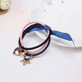 Haar elastieken met bedels - roze/blauw/zwart
