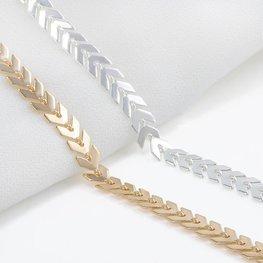 Enkelbandje chevron - zilver