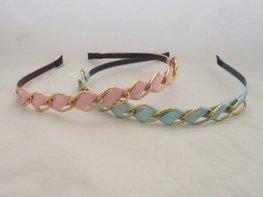 Haarband met goudkleurige schakels Blauw