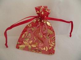 Organza zakje rood met gouden rozen