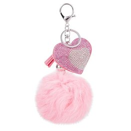Tas/sleutel hanger bling heart roze