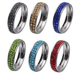 RVS strass ring groen - verschillende maten