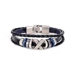 Heren armband leer zwart met metalen sluiting (blauw)