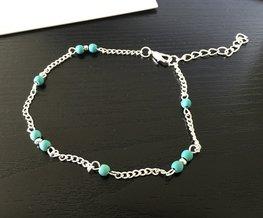 Enkelbandje zilver met turquoise kraaltjes