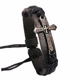 Heren armband leer met kruis - Zwart
