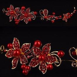 Buigbare tiara bloem met strass en parels goud/rood