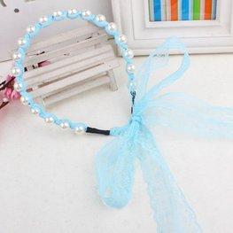 Haarband met parels en kanten lint - blauw