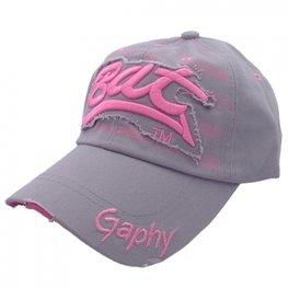 Cap / pet grijs met roze