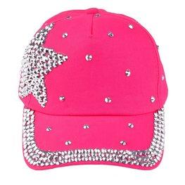 Cap / pet hard roze / zilveren studs