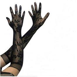 Lange handschoenen opengewerkt - Zwart