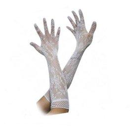 Lange handschoenen opengewerkt - Wit