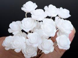 Haarpin met acryl roos wit glitter