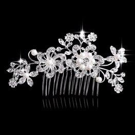 Haarkam bloemen met strass en parels - zilver