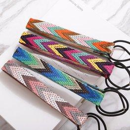 Elastische haarband geborduurd - diverse kleuren