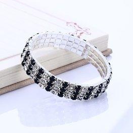 Armband 3 rijen strass - zwart/blank
