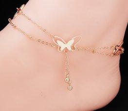 Enkelbandje vlinder rose-goud