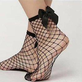 Visnet / fishnet sokken strik - zwart