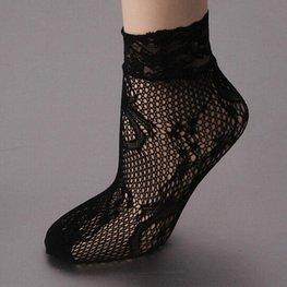 Open gewerkte sokjes met kanten rand - zwart