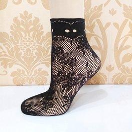 Visnet sokken bloempatroon - zwart