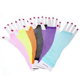 Visnet vingerloze handschoenen - lang - div kleuren