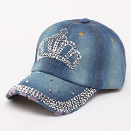 Jeans cap/pet kroon