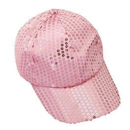 Cap / Pet met pailletten roze