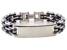 Heren armband zilver/zwart met metalen plaatje
